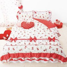 Strawberry Shortcake bedroom - cute red and white strawberry print bed sheet set with heart cushion