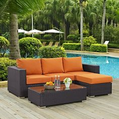 Convene 3 Piece Outdoor Patio Sofa Set, Espresso Orange – Patio Furniture Sets for Sale Top Furniture Stores, Patio Furniture Sets, Garden Furniture, Modern Furniture, Street Furniture, Furniture Outlet, Diy Wanddekorationen, 3 Piece Sofa, Blue Patio