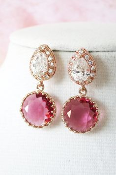 Rose Gold Cubic Zirconia Teardrop Ruby Glass Earring - gifts for her, earrings, bridal bridesmaid brides ruby pink rose gold weddings, by ColorMeMissy, www.colormemissy.com