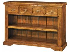 Granary Low 4 Drawer Bookcase AB220 - Made from Acacia hardwood and cleverly distressed £410.83