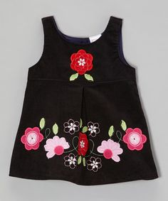 Look what I found on #zulily! the Silly Sissy Black Embroidered Flower Corduroy Dress - Toddler & Girls by the Silly Sissy #zulilyfinds