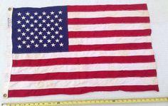 "VINTAGE ANNIN 50 STAR DEFIANCE BOAT FLAG Small 34""x21"" Sewn Cloth Stars Stripes"