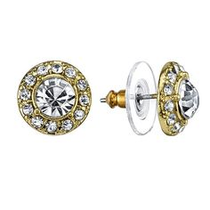 A style essential, these beautiful stud earrings feature round crystals in gold-toned settings embellished with a halo of smaller crystals. An elegant accessory that's perfect for day or night.