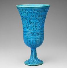 Cat Goddess BASTET Persian Cobalt Blue Porcelain Figurine w// Scarab Pendant NEW