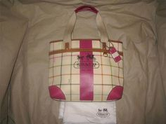 Coach Heritage Stripe Tattersall Tote Bag Purse Cream Pink #Coach #TotesShoppers