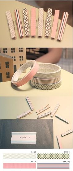 cover pegs with craft tape - so easy and effective! - I want cute clothes pins!