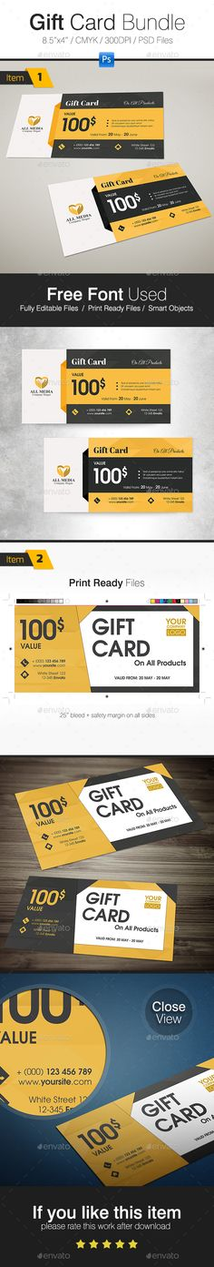 Gift Card Bundle - Cards & Invites Print Templates