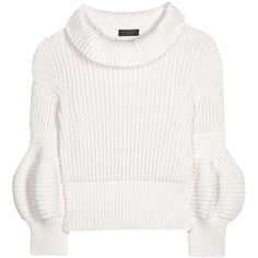 Burberry Cotton-Blend Sweater (20.706.300 IDR) ❤ liked on Polyvore featuring tops, sweaters, white, burberry, burberry sweater, white sweater, burberry tops and white top