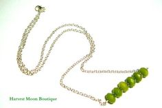 """This+bar+necklace+is+made+with+silver+plated+link+chain,+silver+plated+plated+spacer+beads,+and+lime+green+jade+beads.++  The+bar+measures+1.75""""+and+comes+on+a+18""""+silver+plated+link+chain."""
