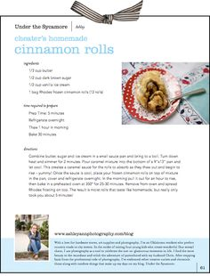 "AshleyAnn's ""cheater's homemade cinnamon rolls"" recipe...she's too cute :)"