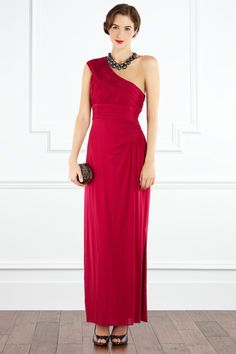 One shoulder raspberry maxi. Yes, please.