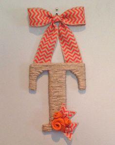 Orange Chevron Burlap and Jute T hanging initial - Monogram, Sports Team, Tennessee www.etsy.com/shop/SimplyBlessedGift