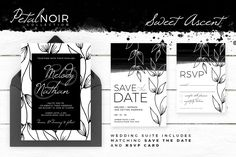 Petal Noir - Sweet Ascent - stunning wedding invitation, along with matching 'Save The Date' and 'RSVP' card.