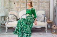 Caftan vert pailleté Collection Princesse d'un soir