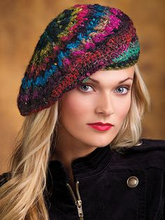 Crochet - Accessory Patterns - Hat, Gloves & Scarf Patterns - Points of Diamonds Beret
