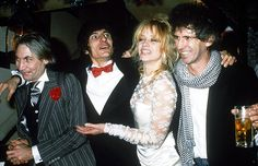 Jo Wood with Keith Richards and Ronnie Wood in 1985.