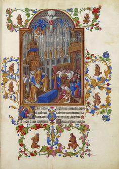 The Limbourg Brothers, fl.c.1390-1425, Netherlandish-French, Les trčs riches heures du Duc de Berry: Janvier (January), 1412-16. Manuscript (Ms. 65), 29.4 x 21 cm. Musée Condé, Chantilly. International Gothic, Proto-Renaissance.