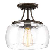 Quoizel Soho 10.62-in W Bronze Clear Glass Semi-Flush Mount Light