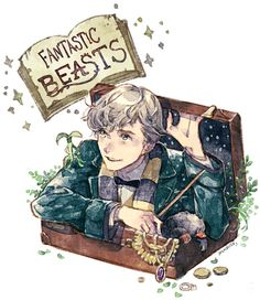 Newt Scamander - Fantastic Beasts And Where To Find Them Images Harry Potter, Art Harry Potter, Mundo Harry Potter, Harry Potter Anime, Harry Potter Universal, Hogwarts, Fantastic Beasts Fanart, Desenhos Harry Potter, Sirius Black