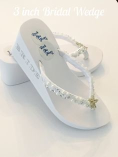 3253133eb814 White Wedding Flip Flops Wedges. Bridal Shoes. Wedding Shoes. Wedding  Sandals.Beach Wedding Shoes. Reception Flip Flops. Bridesmaid Shoes