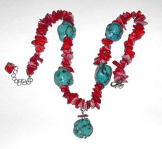 Turquoise Nugget and Red Coral Necklace by BanglesBeadsVintage, $19.00