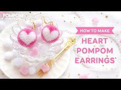 FREE Tutorial - How to Make Heart Pompom Earrings - ポンポンの作り方 - Cách làm bông tai pompom trái tim - Pompom crafts - Pom Pon, Pom Pom Rug, Earring Tutorial, Diy Tutorial, Tutorial Crochet, Duct Tape Crafts, How To Make A Pom Pom, Pom Pom Crafts, Unicorn Crafts