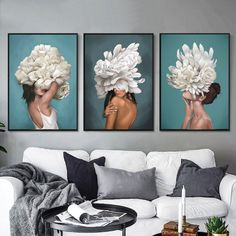 Give any open wall in your home a tasteful touch of glamour with this painting print. This showcases a contemporary design featuring both women and flowers. Ocean Canvas, Blue Canvas, Watercolor Canvas, Abstract Canvas, Painting Prints, Canvas Prints, Paintings, Framed Art, Framed Prints