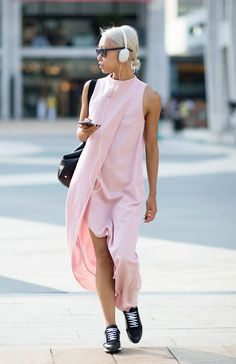 Vanessa Hong Who says street style isn't sensible? The breezy pink dress by Kaelen, worn with sneakers, is probably the most logical outfit on this list. Photo: I'M KOO
