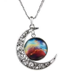 New Galactic Tone Crescent Moon Necklace Univers Glass Cabochon Pendant Silver