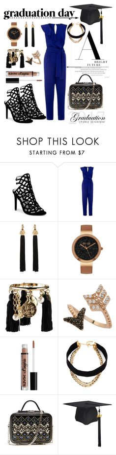 """Graduate In Style"" by ghadalog ❤ liked on Polyvore featuring GUESS by Marciano, Yves Saint Laurent, SO & CO, Oscar de la Renta, Bee Goddess, NYX, Lacey Ryan and Graduation"
