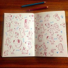 Dogs. #dogsofinstagram #dog #illustration #sketchbook (c) Linzie Hunter