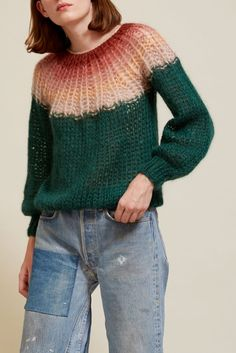 Maiami Mohair Pleated Sweater in Gradient Forest Green