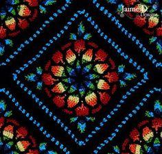 manta crochet imitando vidriera.stained glass afghan.