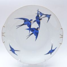 Stunning Mid Century Vintage 1950s Swallow Design Bone China Cake Plate  #MidCenturyModern #CakePlatesStands