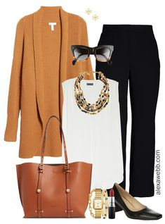 Plus Size Cardigan Work Outfit Ideas - Alexa Webb Plus Size Fall Cardigan Outfit Ideas with Dolman Cardigan, Trousers, and Statement Necklace - Alexa Webb Source by cardigan outfits Classic Work Outfits, Fall Outfits For Work, Casual Work Outfits, Business Casual Outfits, Professional Outfits, Work Attire, Work Casual, Stylish Outfits, Business Attire