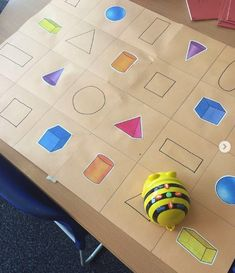 Programming Bee-Bot to discover and identify different shapes here by - My very talented friend created this resource to support learning in class. Her class are lucky to have her. 3d Shapes Activities, Teaching Shapes, Nursery Activities, Teaching Activities, Teaching Ideas, Maths Eyfs, Eyfs Classroom, Preschool Math, Numeracy