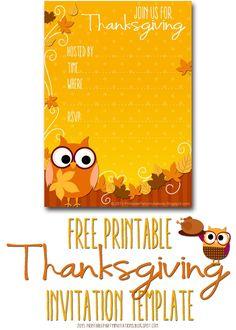 FREE Printable Autumn Owl Thanksgiving Invitation Template