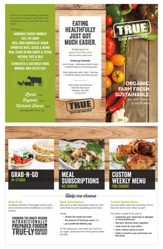 Tri-fold brochure design for TRUE Health and Wholeness food