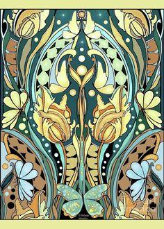 Art Nouveau Style Art Greeting Card featuring the digital art Very Art Nouveau by Melodye Whitaker Interior Art Nouveau, Architecture Art Nouveau, Design Art Nouveau, Art Nouveau Pattern, Art Nouveau Tattoo, 60s Art, Illustration Art Nouveau, Inside Art, Poster Art