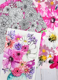 alisaburke: 1 bouquet 3 ways Fun Crafts, Diy And Crafts, Arts And Crafts, Diy Paper, Paper Crafts, Alisa Burke, Flower Doodles, Watercolour Tutorials, Silhouette Projects
