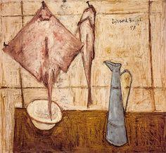 Bernard Buffet - Raie et broc. Huile sur toile, 116 x 127,5 cm, 1948. Musée Bernard Buffet.