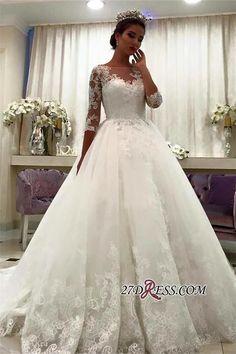 Appliques Chapel-Train Lace Ball-Gown Half-Sleeve Bateau Wedding Dresses