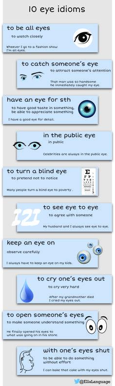 10 eye idioms #ESL #ELT #idioms