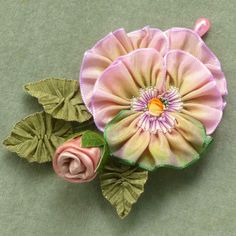 French Ombre Ribbon Pansy & Silk Satin Rose Bud Millinery Corsage