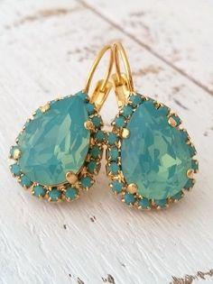 Mint drop earrings   pacific opal seafoam crystal earrings by EldorTinaJewelry   http://etsy.me/1iXjAKz