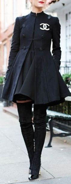 Chic winter look | Black Coco Chanel dress coat with over the knee boots