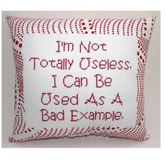 Funny Cross Stitch Pillow, Cross Stitch Quote, Red and White Pillow, Bad Example Quote. $20.00, via Etsy.