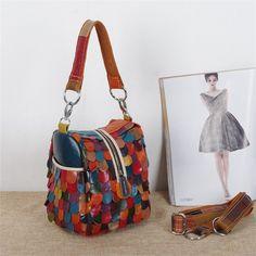 39.96$  Watch now - https://alitems.com/g/1e8d114494b01f4c715516525dc3e8/?i=5&ulp=https%3A%2F%2Fwww.aliexpress.com%2Fitem%2Fhot-New-Women-Messenger-Bag-Patchwork-Colorful-irregular-Genuine-Leather-Handbag-national-wind-female-bag-clutch%2F32350460789.html - Caerlif  Products Women's Splicing Color Shoulder Cross Body Bags Sheepskin women messenger bags Genuine leather small bags