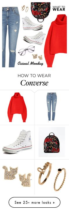 """Casual Monday"" by dressedbyrose on Polyvore featuring River Island, Converse, New Look and Betsey Johnson"