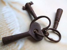 3 Three Unusual Vintage Clock Keys For Steampunk Jewelry Altered Art Mixed Media Assemblage Design